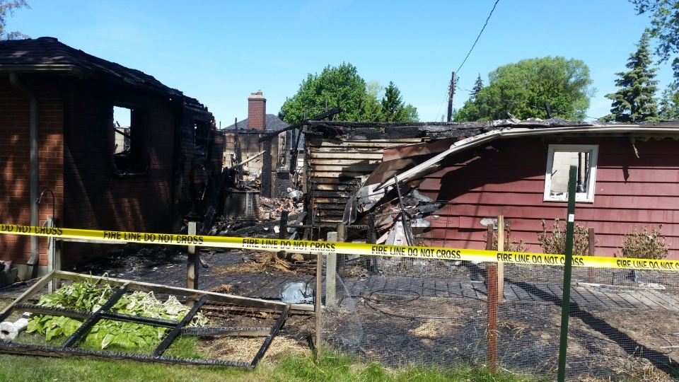 A fire in Leamington, Ont. on Saturday, June 11 damages two homes, outbuildings and vehicles.