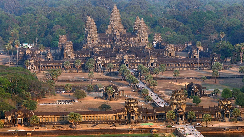 Aerial view of the Angkor Wat temple