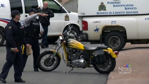 Officers raid a biker gang's clubhouse in New Glasgow, N.S., back in 2016.