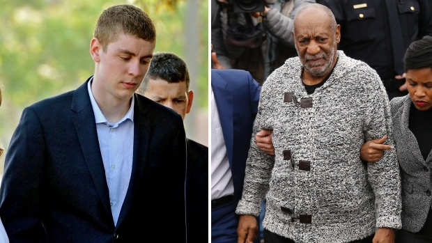 Brock Turner and Bill Cosby are seen in a composite image. (Credit: Turner - Dan Honda / Bay Area News Group via AP, Cosby - Matt Rourke / AP Photo)