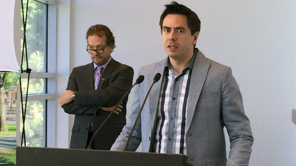 Bernard Biron and Brossard Mayor Paul Leduc