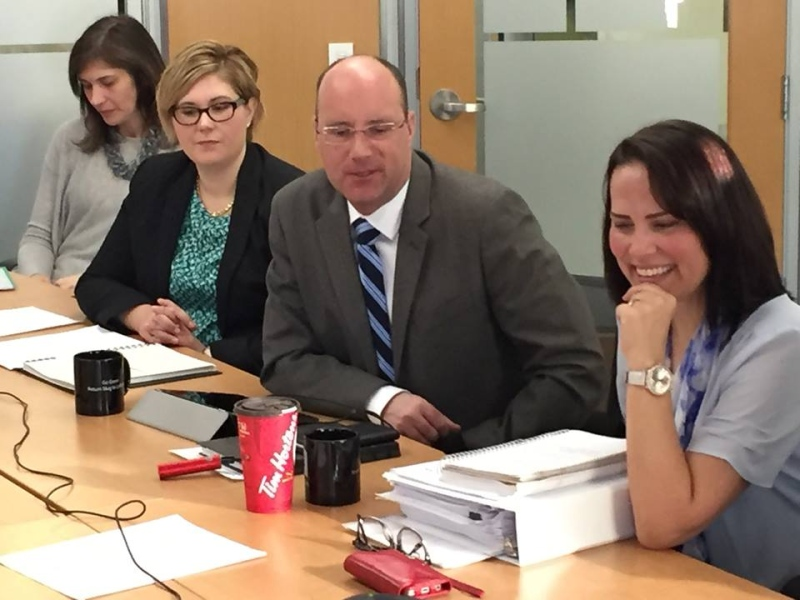 Mayor Matt Brown and then-Deputy Mayor Maureen Cassidy at a poverty panel event in London in February, 2016.