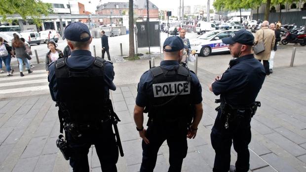 French riot police patrol in downtown Lille, France, on June 14, 2016. (Darko Vojinovic / AP)