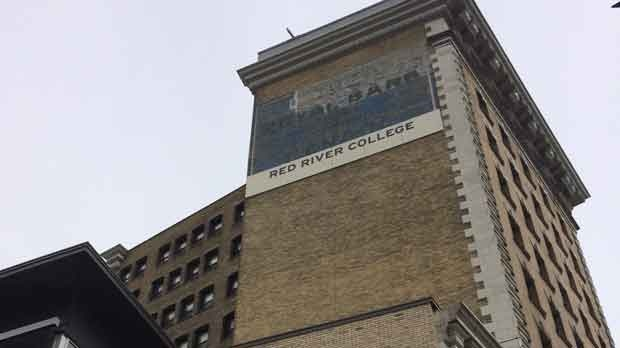 Red River College is installing a new sign overtop the existing Royal Bank of Canada ghost sign at the Paterson Global Foods Institute.