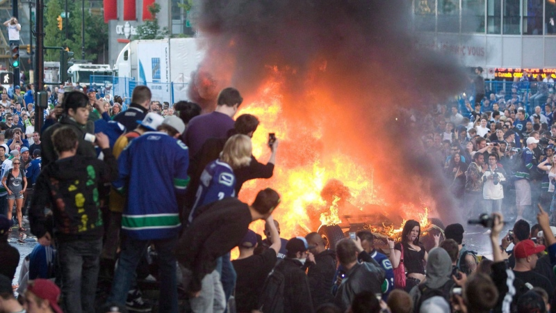 To mark the five-year anniversary of the Stanley Cup riot that shook Vancouver and temporarily tarnished its image around the world, here's a look back at some of the starkest images captured that night. June 15, 2011. (THE CANADIAN PRESS/Geoff Howe)
