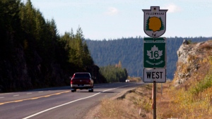 The Yellowhead, Highway 16, near Prince George, B.C., is pictured on Oct. 8, 2012. (Jonathan Hayward / THE CANADIAN PRESS)