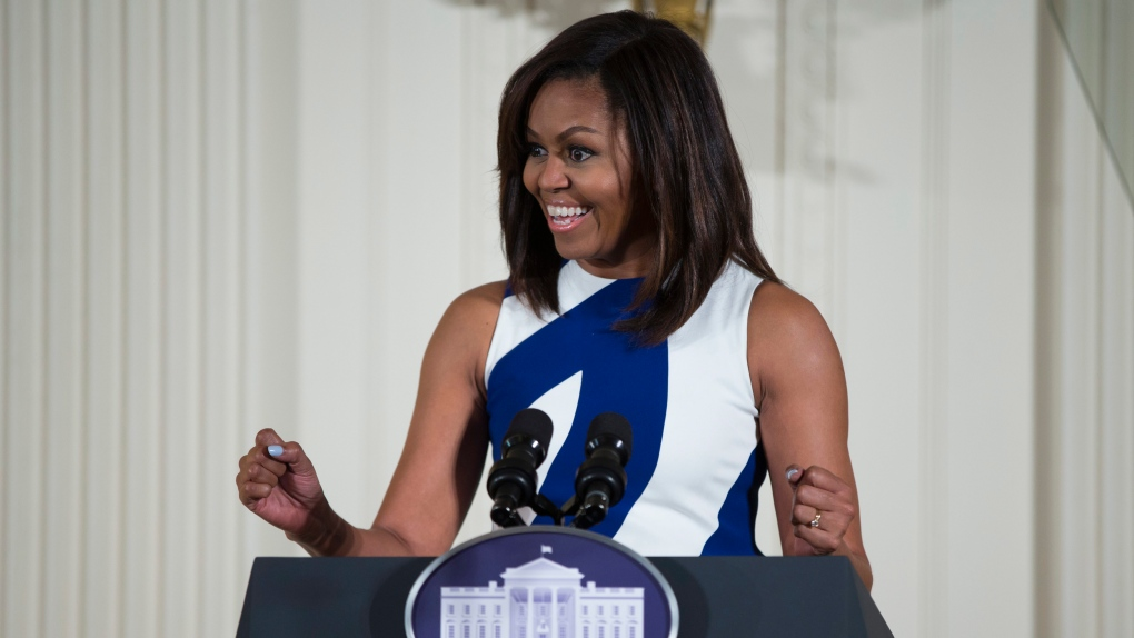 Michelle Obama speaks at White House in Washington