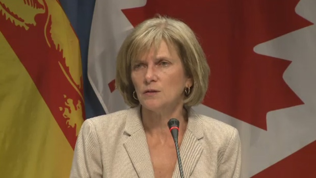 New Brunswick Auditor General Kim MacPherson addresses the media on Wednesday, June 15, 2016.