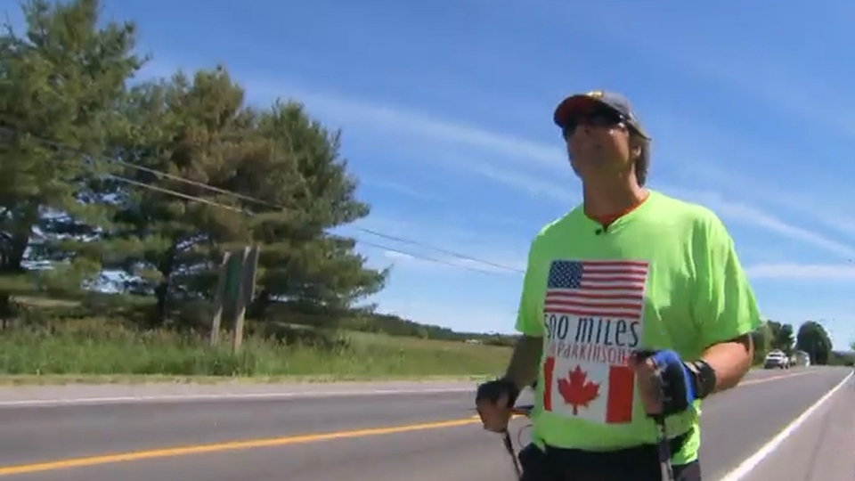 Harry McMurtry, 54, a retired lawyer who lives with Parkinson's disease, set out to walk from New York City to Toronto in early May.