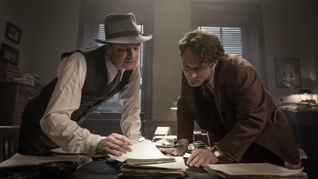 Colin Firth and Jude Law in Genius (Pinewood Films)