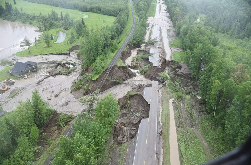 A photo taken by the B.C. Ministry of Transportation shows the extent of the flooding damage in the Peace River area.