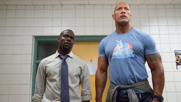 This image released by Warner Bros. Entertainment shows Kevin Hart, left, and Dwayne Johnson in a scene from, 'Central Intelligence.' (Claire Folger/Warner Bros. Entertainment Inc. via AP)
