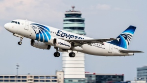 An EgyptAir Airbus A320 is seen taking off from Vienna International Airport on August 21, 2015. (AP)