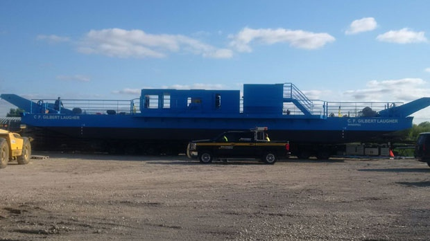 The $3.1-million ferry is about 75 per cent complete and will be finished on land at a provincial yard in Selkirk.