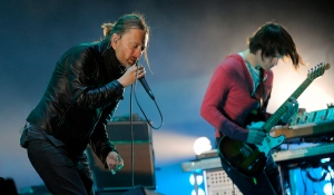In this April 14, 2012 file photo, Thom Yorke, left, and Jonny Greenwood of Radiohead perform during the band's headlining set at the 2012 Coachella Valley Music and Arts Festival in Indio, Calif. (AP / Chris Pizzello)