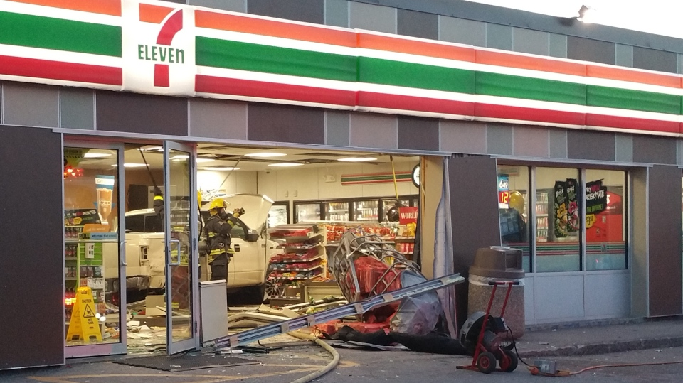 Truck Smashes Into 7 Eleven Narrowly Misses Customer Getting