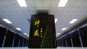The Sunway TaihuLight, a new Chinese supercomputer, is seen in Wuxi, eastern China's Jiangsu Province in this photo released by the Xinhua News Agency and taken on June 16, 2016. (Li Xiang/Xinhua via AP)