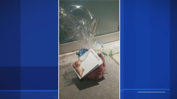 A pig's head wrapped as a gift was discovered in front of a Quebec City mosque on Sunday June 19, 2016