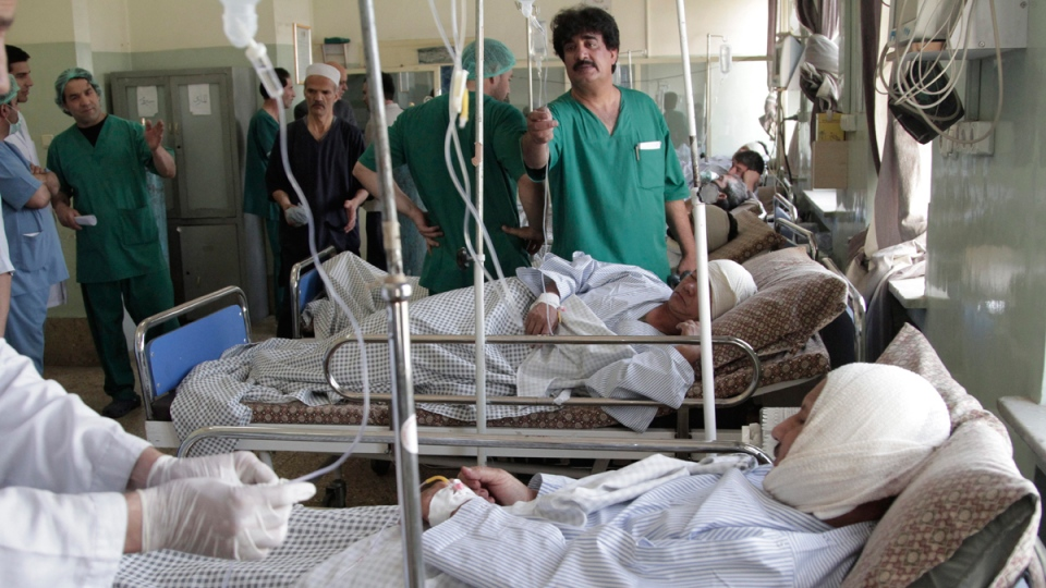 Nepalese security guards receive treatment at a hospital following a suicide attack in Kabul, Afghanistan, on June 20, 2016. (Rahmat Gul / AP)