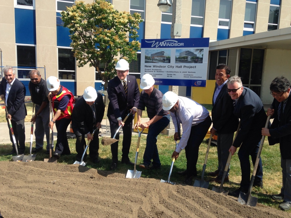 Officials celebrate groundbreaking of the new city hall in Windsor, Ont., on Monday, June 20, 2016. (Chris Campbell / CTV Windsor)