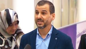 Salim Alaradi speaks after arriving