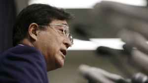 Mitsubishi Motors Corp. Chairman and CEO Osamu Masuko, answers a question during a press conference in Tokyo on May 11, 2016. (AP / Eugene Hoshiko)
