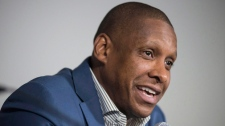 Masai Uriji, Toronto Raptors general manager, talks to the media at the BioSteel Centre to announce the extension of coach Dwane Casey's contract, in Toronto, Tuesday, June 7, 2016. THE CANADIAN PRESS/Eduardo Lima.