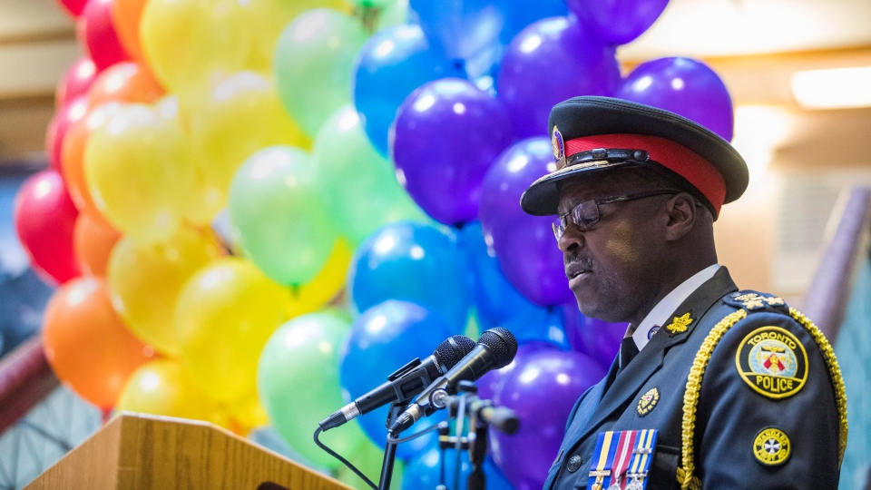 Toronto police chief Mark Saunders apologizes for raids of bathhouses that explicitly targeted the city's LGBTQ community in 1981 during a news conference in Toronto on Wednesday June 22, 2016. (Mark Blinch / THE CANADIAN PRESS)
