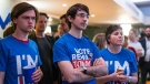 Supporters of the Stronger In campaign react after hearing results in the EU referendum at London's Royal Festival Hall Friday June 24, 2016. (Rob Stothard / PA via AP)