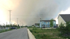 Plumes of smoke from a wildfire near Easterville, Man. (Anthony Abysswalker Zong Jr.)