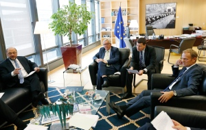 From left, European Parliament President Martin Schultz, European Commission President Jean-Claude Juncker and European Council President Donald Tusk participate in a meeting at EU headquarters in Brussels on Friday, June 24, 2016. (Francois Lenoir, Pool photo)