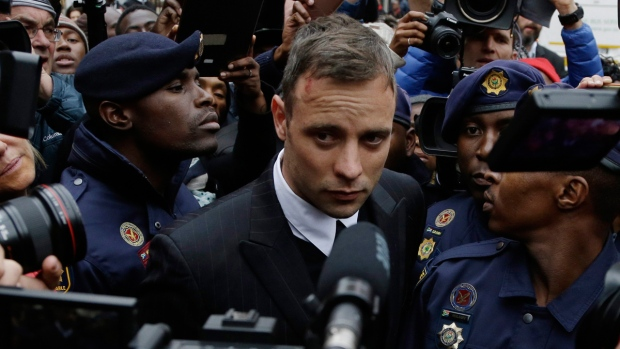 Oscar Pistorius leaves the High Court in Pretoria, South Africa, on June 14, 2016. (Themba Hadebe / AP)