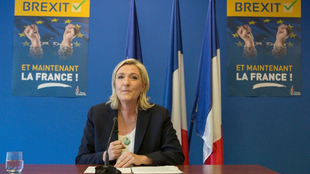 French far-right leader Marine Le Pen speaks at the National Front party headquarters in Nanterre, outside Paris, on Friday, June 24, 2016. (AP Photo/Kamil Zihnioglu)