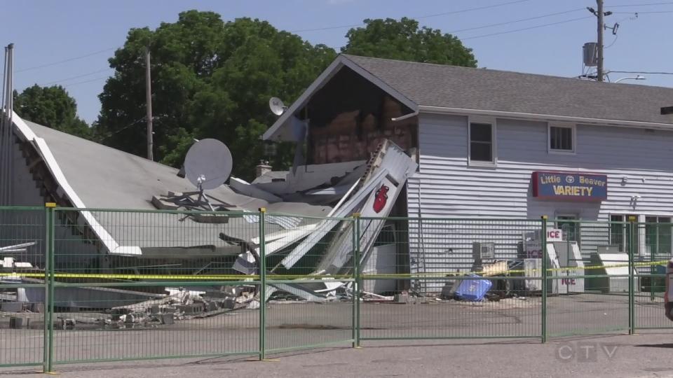 Damaged building in Delaware Ont. on June 24, 2016. (Bryan Bicknell/CTV London)