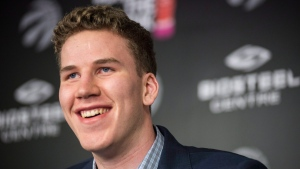 Toronto Raptors' 2016 first round draft pick, Jakob Poeltl, speaks to the media at the BioSteel Centre, in Toronto, on Friday, June 24, 2016. (THE CANADIAN PRESS / Eduardo Lima)