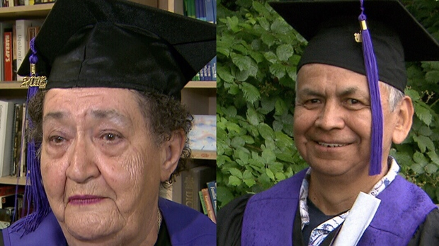 Virginia Knowlton, 74, and Harvey Andrew, 62, both graduated with their high school diplomas last week. (CTV News). June 25, 2016.