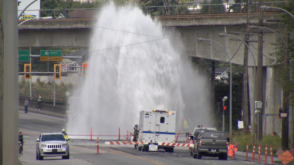 Broken Water Main In New Westminster Shuts Down