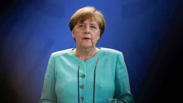 German Chancellor Angela Merkel speaks during a statement about the referendum in Britain at the chancellery in Berlin, Friday, June 24, 2016. Britain voted to leave the European Union after a bitterly divisive referendum campaign, according to tallies of official results Friday. (AP / Markus Schreiber)