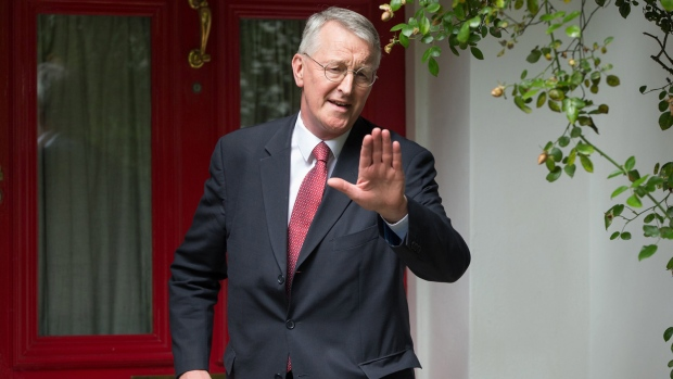 British opposition Labour Party MP Hilary Benn outside his home in London after appearing on a BBC TV current affairs programme, Sunday morning June 26, 2016. The shadow foreign secretary Benn has been sacked Sunday by Labour leader Jeremy Corbyn after he raised concerns about the party leadership. (Daniel Leal-Olivas / PA via AP)