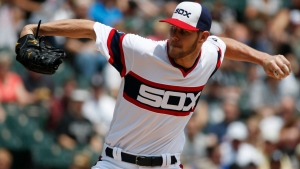 Chicago White Sox starter Chris Sale throws against the Toronto Blue Jays during the first inning of a baseball game in Chicago, on Sunday, June 26, 2016. (AP Photo/Nam Y. Huh)