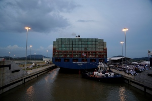 The COSCO Shipping Panama cargo ship leaves the new Cocoli Locks, part of the new Panama Canal expansion project, in Panama City, Sunday, June 26, 2016. (AP Photo/Tito Herrera)