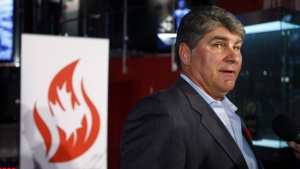 Inductee to Canada's Sports Hall of Fame, Ray Bourque, a Stanley Cup winner and member of the Hockey Hall of Fame speaks to the media at the hall in Calgary, Alta. on Tuesday, Nov. 8, 2011. (Jeff McIntosh/ THE CANADIAN PRESS)