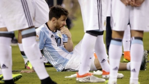 Argentina's Lionel Messi waits for trophy presentations after the Copa America Centenario championship soccer match in East Rutherford, N.J. on Sunday, June 26, 2016. (AP / Julie Jacobson)