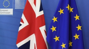 The EU and British flags next to each other at EU headquarters in Brussels. (Geert Vanden Wijngaert / AP)