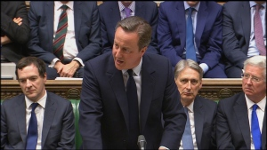 In this image taken from the Parliamentary Recording Unit Britain's Prime Minister, David Cameron, addresses the House of Commons in London, Monday June 27, 2016, regarding the result of the referendum vote on leaving the EU which took place Thursday. (Parliamentary Recording Unit via AP)