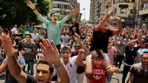 Hundreds of Egyptian students chant slogans during a protest against the cancellation of high school exams, in Cairo, Egypt, Monday, June 27, 2016. Demanding the resignation of Education Minister Al-Helali el-Sherbini, the students, accompanied by some parents, later marched toward Tahrir Square, the epicentre of Egypt's 2011 uprising against longtime autocrat Hosni Mubarak. (Ahmed Abd El Latif/ THE ASSOCIATED PRESS)