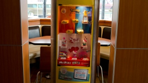 Toys that come with Happy Meals are showcased at a McDonald's restaurant in Santiago, Chile, on June 22, 2016. (AP Photo/Esteban Felix)