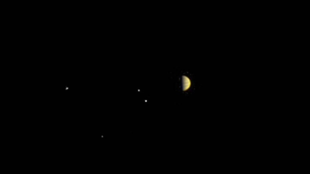 Jupiter and the moons Io, Europa, Ganymede and Callisto are photographed from Juno on June 21, 2016. (NASA/JPL-Caltech/MSSS)