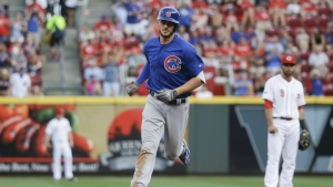 Chicago Cubs' Kris Bryant runs the bases after hitting a three-run home run off Cincinnati Reds starting pitcher Dan Straily in the fourth inning of a baseball game in Cincinnati on Monday, June 27, 2016. (AP / John Minchillo)