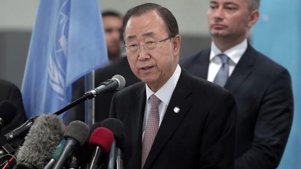 UN Secretary General Ban Ki-moon during his visit to the Gaza Strip, on June 28, 2016. (Khalil Hamra / AP)